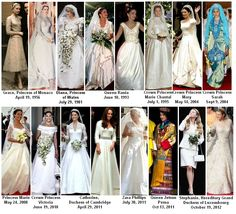 (¯`'•.ೋRoyalty Fashions:  Royal Wedding Dresses but shame Sarah, Duchess of York's was not included, it was much nicer than Diana's