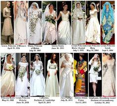 (¯`'•.ೋRoyalty Fashions:  Royal Wedding Dresses but shame Sarah, Duchess of York's was not included, it was much nicer than Diana's