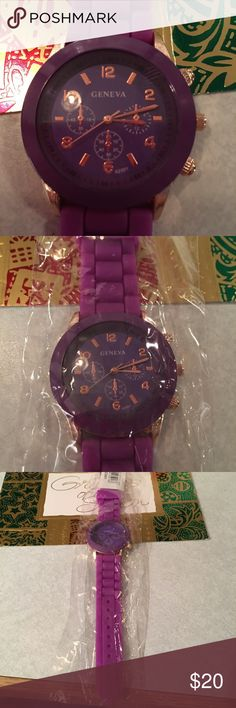Purple Watch Purple rubber watch. Never used. Needs battery. Bought it for work because I wash my hands so much at my job and rubber watches work the best. Jewelry