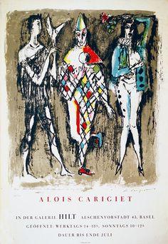 Alois Carigiet Swiss), Exhibition Poster, Galerie Hilt Basel, 120 x 83 cm. Basel, Illustrator, Pierrot, Exhibition Poster, Seven Deadly Sins, Switzerland, Moose Art, Sculptures, Drawings