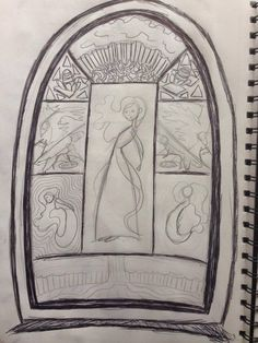 old stained glass window concept