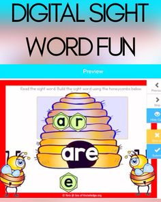 Sight Words Build a Word with honeybees! This interactive Boom Digital Cards are a great way to engage young learners in developing sight word recognition and reading. There are 28 sight words in this deck. Sight Word Worksheets, Sight Word Games, Sight Words, Fine Motor Activities For Kids, Kindergarten Activities, Preschool Activities, Play Based Learning, Hands On Learning, Literacy Work Stations
