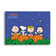 Snoopy and Pumpkin First Birthday Envelope: Snoopy and Pumpkin First Birthday Envelope $0.90 by peanuts Charlie Brown Halloween, Great Pumpkin Charlie Brown, Peanuts Halloween, The Great Pumpkin Patch, Personalized Door Mats, Cute Designs, Card Stock, Patches, Make It Yourself