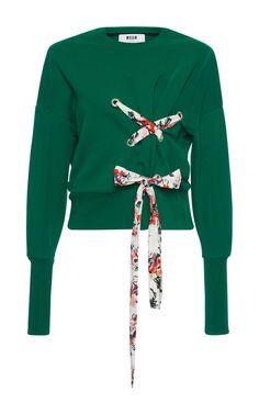 Green Criss Cross Sweatshirt  by MSGM for Preorder on Moda Operandi