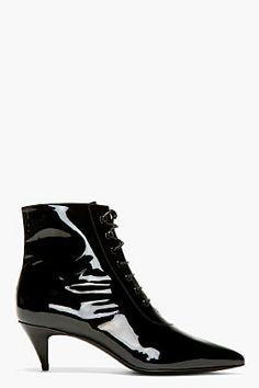 SAINT LAURENT Black Patent Leather Victorian Boots