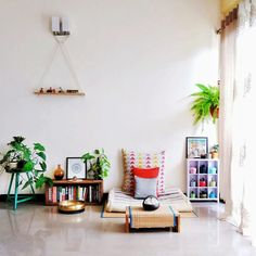 """Jayati and Manali share their home tour as the science home décor - A study room decorated with book shelf, green plants, frames and vintages Ethnic Home Decor, Asian Home Decor, Diy Home Decor, Living Room Remodel, Home Living Room, Living Room Decor, Indian Home Interior, Room Interior, Indian Room"