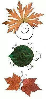 let kids create pictures with leaves and other object found around in #autumn!