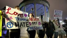 Demonstrators gather before start of rally against Donald Trump as President at the Parkman Bandstand on Boston Common in Boston on Nov. 9, 2016. (Photo by John Blanding/The Boston Globe via Getty Images)  via @AOL_Lifestyle Read more: http://www.aol.com/article/news/2016/11/09/trump-protestors-show-defiance-with-powerful-signs/21602795/?a_dgi=aolshare_pinterest#fullscreen