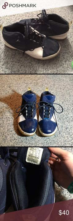 Vintage Air Jordan Basketball Sneakers Shoes In good preowned condition. Blue and white air Jordan basketball / athletic shoes or sneakers. I don't know the specific model or style of shoe, and any small scuffs or imperfections can likely be cleaned up pretty easily. Very comfy, and still in good condition. For all I know these shoes could be extremely valuable, but I don't know enough about shoes to know. All I know is that they were purchased originally for 125. Feel free to make offers in…