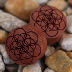 Seed Of Life Wooden Organic plug plugs gauge gauges ukcustompulgs taper tattoo ukcp