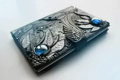 DISPLAY ITEM - Angel wing Journal- secret diary- sketchbook- polymer clay - fantasy steampunk gothic lolita blank OOAK