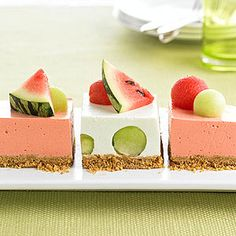 Melon Icebox Cake - We paired cantaloupe and apricot flavored gelatin; honeydew with Melon Fusion gelatin; and for a pink color use tropical fusion gelatin and top with watermelon. Frozen Desserts, Frozen Treats, Just Desserts, Delicious Desserts, Yummy Food, Dessert Healthy, Jello Recipes, Watermelon Recipes, Dessert Recipes
