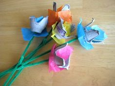 egg carton flowers for Earth Day