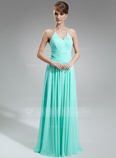 A-Line/Princess Halter Floor-Length Chiffon Bridesmaid Dress With Ruffle (007001756) - JJsHouse