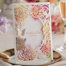 Laser Cut Invitaciones de Boda Invita Tarjetas Personalizadas Flores Coloridas con La Mariposa de Compromiso de Matrimonio Nupcial Ducha CW065(China (Mainland))