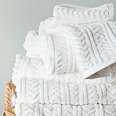 Serena and Lily - Chevron Jacquard towels: How to wake up a basic white towel? With texture – ours is a classic chevron design. Woven of lofty, absorbent and quick-drying cotton terry, these towels won't fade, fray or wear out. Here's to everyday luxuries.