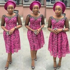 African Ankara Lace Gown For Nigerian Parties.