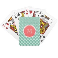 Mint Green Quatrefoil Pattern, Coral Monogram Card Deck