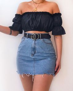 Likes, 82 Comments - Daily Outfits Cute Outfits With Leggings, Crop Top Outfits, Girly Outfits, Cute Casual Outfits, Summer Dress Outfits, Simple Outfits, Stylish Outfits, Legging Outfits, Outfits With Jean Skirt