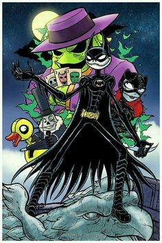 Batman and Catwoman as Jack and Sally Nightmare before Christmas