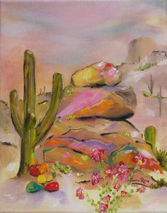 Oil painting Arizona catcus Southwestern landscape Gold-Lined Rocks 8x10 inch by Judith Rhue