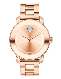 Movado Midsize BOLD Women's Rose Gold-Plated Watch 3600086. This bold rose gold ion-plated stainless steel women's watch features a 36mm case and K1 crystal with reflective rose gold-toned ring. Has a