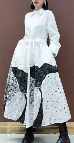Simple Lapel Drawstring Spring Dresses Work Outfits White Print A Line Dress Stylish Dresses, Casual Dresses For Women, Dresses For Work, White Linen Dresses, Cotton Dresses, Work Outfits, Fall Outfits, Chic Fashionista, Spring Dresses