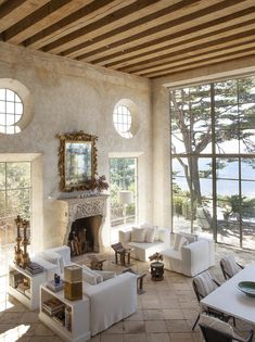 Interior Design by Richard Shapiro. Photo via C Home - luxury seaside homes - luxury coastal homes - neutral living rooms - rustic living rooms - rustic beachfront interior design Decor, House Design, House, Interior, Home, Mediterranean Living Rooms, House Styles, New Homes, House Interior