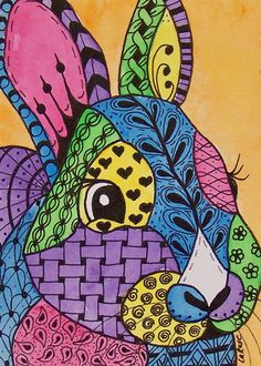 "Zentangle Bunny ""Chubby"", http://shop.ebay.com/larusc"