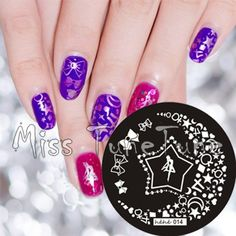 New Stamping Plate hehe14 Stars Bowknots Bling Girlish Nail Art Stamp Template Image Transfer Stamp