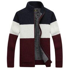 NIANJEEP Brand Clothing Thicken Winter Sweater Men Pattern Striped Zipper Warm Outwear Jacket Wool Liner Cardigan Men A3364