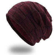 8794ebccd36a4 UPhitnis Warme Wintermütze - Long Slouch Beanie Mütze - Strickmütze mit  Flecht Muster und sehr weichem