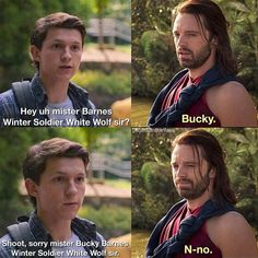 But can you imagine Bucky meeting Peter and thinking 'hm, bull-headed, stubborn kid with a heart of gold and a willingness to die doing what's right— oh dear God, it's Steve all over again! Avengers Humor, Marvel Jokes, Funny Marvel Memes, Dc Memes, Funny Memes, Loki Meme, Hilarious, Marvel Fan, Marvel Dc Comics