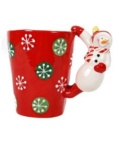 Take a look at this DEI Red Snowman Handle Latte Mug by Merry & Bright by Dennis East on #zulily today!