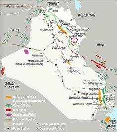Map of Iraq showing oil and gas fields, pipelines, proposed pipelines, refineries, and pump stations. Middle East Map, Iraqi People, Oil Refinery, Historical Maps, Oil And Gas, Iran, Saudi Arabia, History, Cards