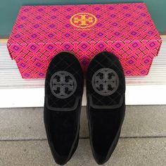 | Tory Burch | Quilted Billy Loafer These beautiful Tory Burch loafers are brand new in the box. Never been worn. Excellent condition. 100% authentic. They are made of quilted black velvet and the interior is lined with cashmere shearling. Also features the signature T logo in leather on the toe. 100% Authentic! FEEL FREE TO MAKE ANY OFFER Tory Burch Shoes Flats & Loafers