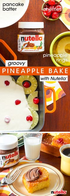 Get down by whipping up this groovy Pineapple Upside-Down Bake. Place pineapple rounds and cherries at the bottom of a casserole dish. Cover with your favorite pancake batter and bake at 375˚F for 25 minutes, or until cooked through. Enjoy with Nutella® hazelnut spread for one psychedelic breakfast, baby. #tbt