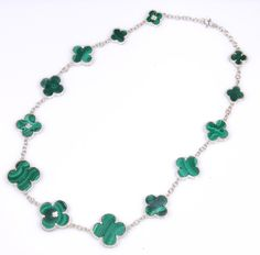 13 piece clover shaped malachites with non-tarnish sterling silver chain. Turquoise Necklace, Beaded Necklace, Malachite, Sterling Silver Chains, Jewelery, Fine Jewelry, Jewelry Design, Wire, Beaded Collar