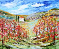 Original oil painting TUSCANY VINEYARD Italy Landscape by Karensfineart
