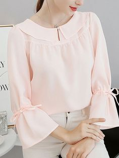 Buy Spring Summer Polyester Women Round Neck Plain Tie Sleeve Long Sleeve Blouses online with cheap prices and discover fashion Blouses at Fashionmia.com. Kurti Sleeves Design, Sleeves Designs For Dresses, Cute Blouses, Blouses For Women, Blouse Styles, Blouse Designs, Hijab Stile, Stylish Dresses For Girls, Cheap Dresses