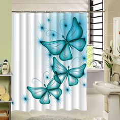 2017 New Polyester Fabric Shower Curtain Purple Waterproof Home Bathroom Curtains Butterfly Bath Curtain For Bathroom Decor Bathroom Window Curtains, Bathroom Doors, Door Curtains, Bathrooms Decor, Small Bathroom, Butterfly Bathroom, Butterfly Shower Curtain, Custom Shower Curtains, Fabric Shower Curtains