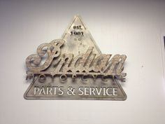 Indian service sign; CNC plasma cut steel with natural finish