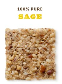 Sage | Simple Squares nuts + honey + sage + vanilla + sea salt Free of gluten, wheat, soy, dairy, gluten and refined sugar Full of yum.