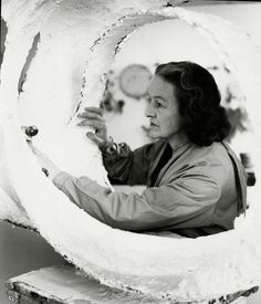Barbara Hepworth working on Oval Form, Trezion, 19 Artists Space, Karl Blossfeldt, Decorative Plaster, Shot List, Sculpture Projects, Barbara Hepworth, Contemporary Sculpture, Ceramic Artists, Art Club