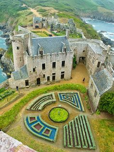 }{  Castle of La Latte in Brittany, France.  This impressive castle was built on a small piece of land at the Baie de la Fresnaye in the 13th century.