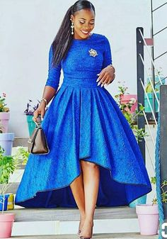 Blue African Print Dress/High Low Dress/African Clothing/African Dress For Women/African Fabric Dres