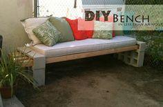 Concrete cinder block bench. DIY  Here's the link for it: http://kaylasbasement.blogspot.com/2012/06/diy-outdoor-bench.html