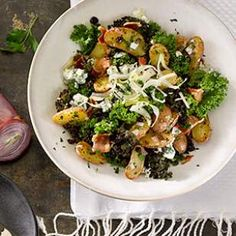 Kale Salad with Bacon-Blue Cheese Vinaigrette  Recipe #eatcleanpinparty