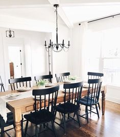 Farmhouse Dining Room - style typically appears with its distinctive huge table. People wouldn't have difficulties to tell what kind of dining room that is Dining Room Decor Dining Room Walls, Dining Room Design, Dining Room Furniture, Black Dining Room Chairs, Black Kitchen Chairs, Office Chairs, Kitchen Table Light, Eat In Kitchen Table, Painted Dining Room Table
