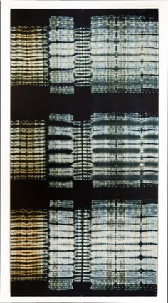 "Frank Connet ""Limestone ll"" Indigo and walnut dyes on wool using shibori sewn resist. Mounted on stretcher. 84"" X 43"""
